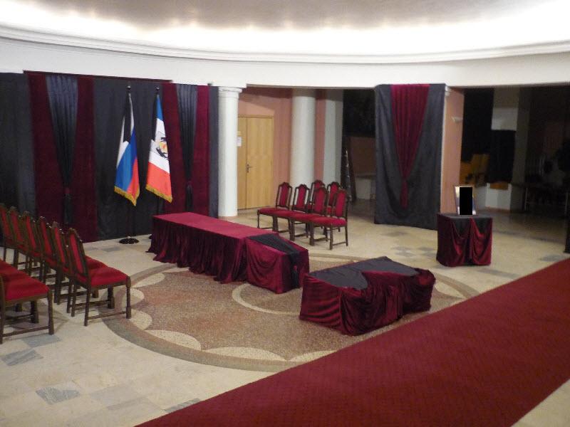 Ритуальный зал. Оформление